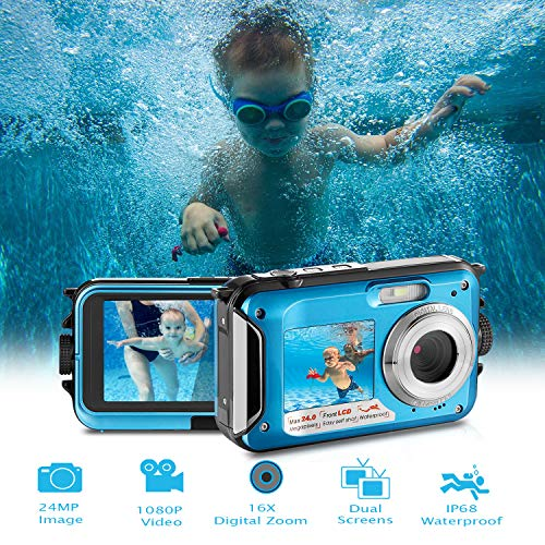 Waterproof Digital Camera Full HD 1080P Underwater Camera 24MP Video Recorder Camcorder Point and Shoot Camera Selfie Dual Screen Waterproof Camera for Snorkeling with Charger