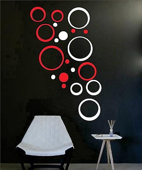 Buy Dakshita Home Decor - Red & White 20 Rings 3D Wall Decor 3D ...