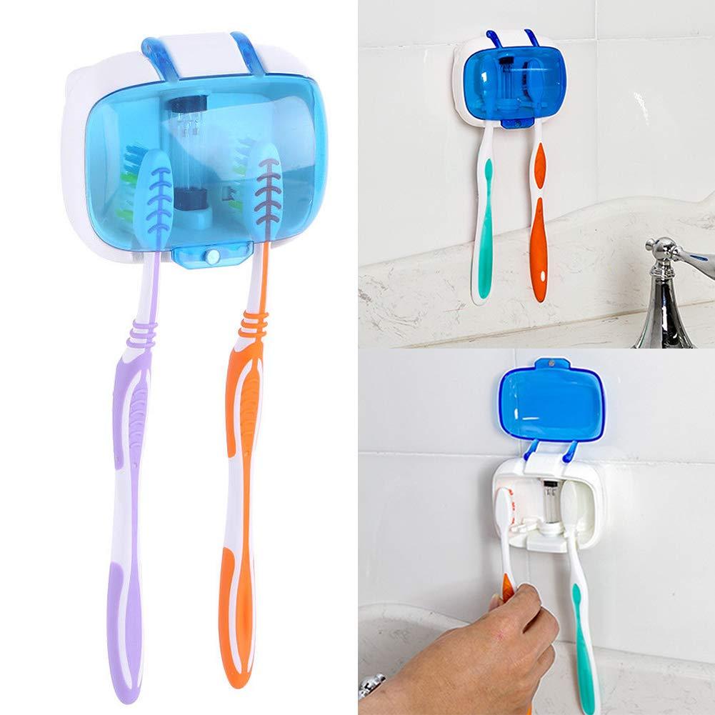Xpccj Soporte esterilizador UV para cepillos de Dientes esterilizador con 2 cepillos de Dientes para ba/ño y Viajes Azul luz UV Tama/ño Libre Funciona con Pilas Montaje en Pared Blanco