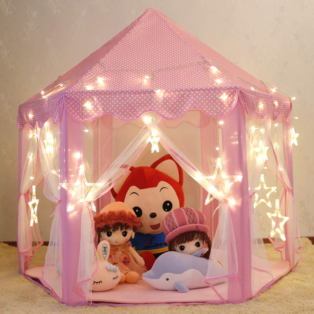 Wilhunter Kids Princess Castle Tent Children Play Tent Playhouse with Star Lights for Girls Indoor and Outdoor Games (Pink)