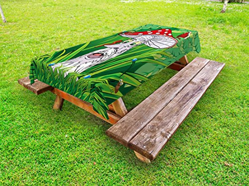 Lunarable Mushroom Outdoor Tablecloth, Old Aged Mushroom Grandpa with Various Jungle Animals Greenery Growth Cartoon, Decorative Washable Picnic Table Cloth, 58 X 104 Inches, Multicolor