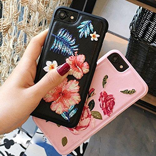 Phone Taschen & Schalen Für iPhone 6 / 6s, Stickerei Blumen PU Leder schützende Rückseite Cover Hard Case ( Color : Black )