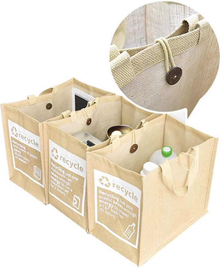 ecoco Jute Separate Recycling Waste Bin Bags for Kitchen Home Recycle Garbage Trash Sorting Bins Organizer Waterproof Baskets Compartment Container, Vintage, Nature (Set of 3)