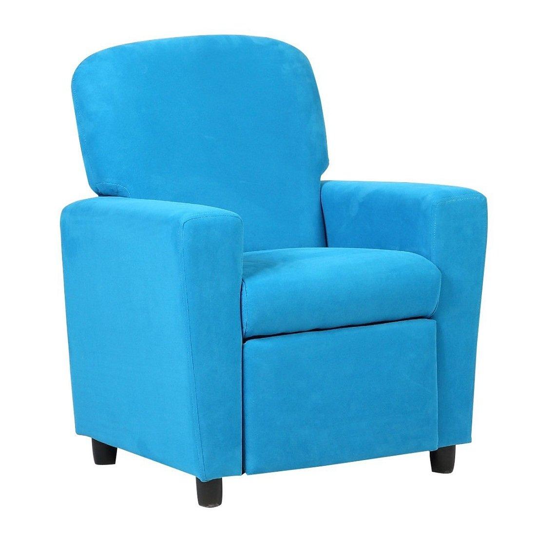 Kids Sofa Armrest Chair Contemporary Blue Microfiber Kids Recliner Children Living Room Toddler Furniture