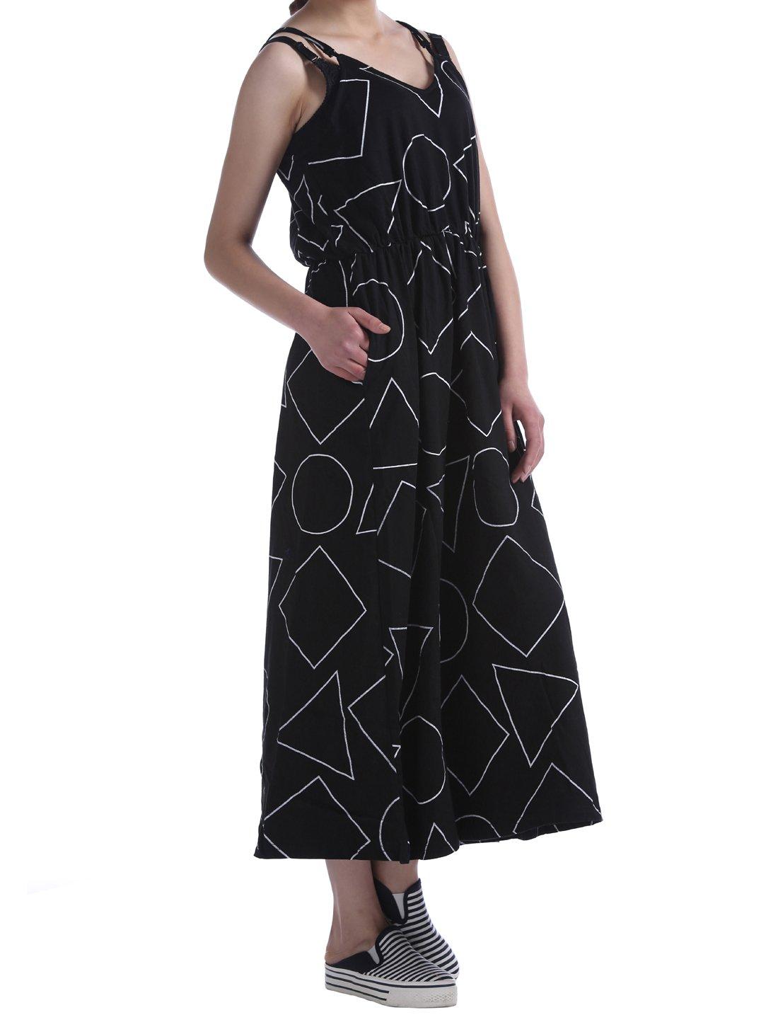 Huan Xun Women's Cotton Geometric Print High Waist Strap Dress Maxi Length, AOLO-647 (Black)