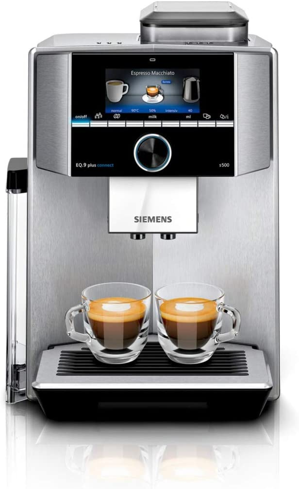 Siemens EQ.9 plus connect s500 Independiente - Cafetera (Independiente, Cafetera de filtro, 2,3 L, Molinillo integrado, 1500 W, Negro, Acero inoxidable)