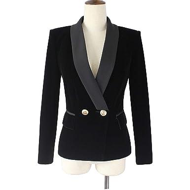 4574c47bda79f Spring Velvet Blazer Women Slim Long Sleeve Ladies Blazers Ol Formal Work  Suits,Black,
