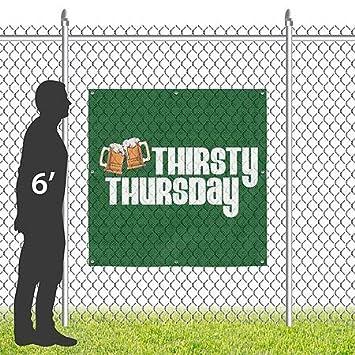Square Wind-Resistant Outdoor Mesh Vinyl Banner Irish Thirsty Thursday 8x8 CGSignLab