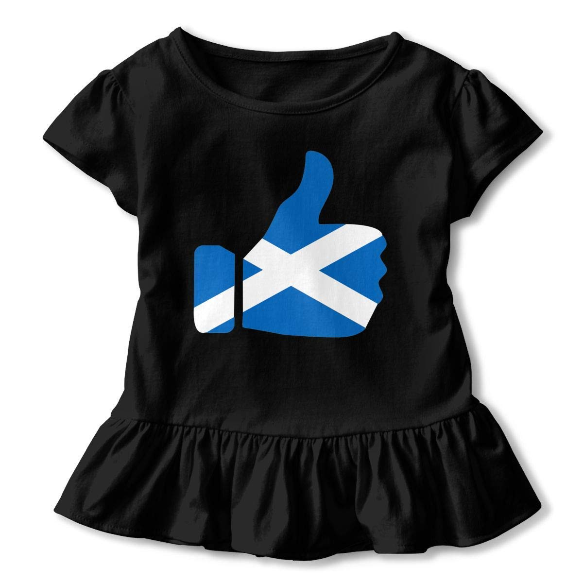 lu fangfangc Flag of Scotland Thumb Signal T-Shirt Kids Flounced T Shirts Comfort Shirt Dress for 2-6T Kids Girls