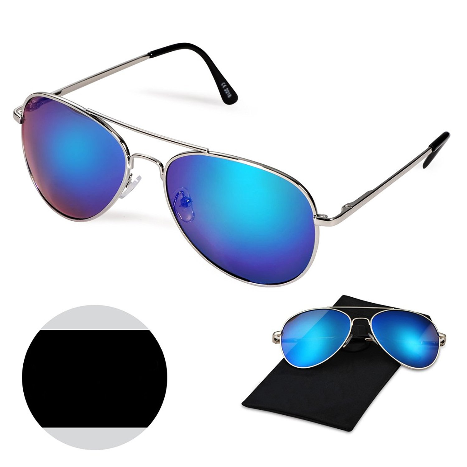 Classic Aviator Style Sunglasses, WITERY Premium Full Mirrored Aviator Metal Frame Polarized Sunglasses Flat Matte Reflective Lens UV400 Protection