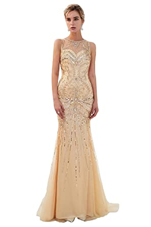 c1f4561c69b Lazacos Women s Sleeveless Luxury Crystal Sequin Evening Dress Long Mermaid  Prom Fown