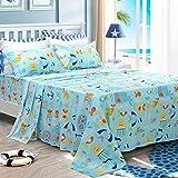 ocean sheets - Brandream Kids Bedding Set Blue Ocean Cotton Sheets Set Cartoon Bed Sheet Set Twin Size