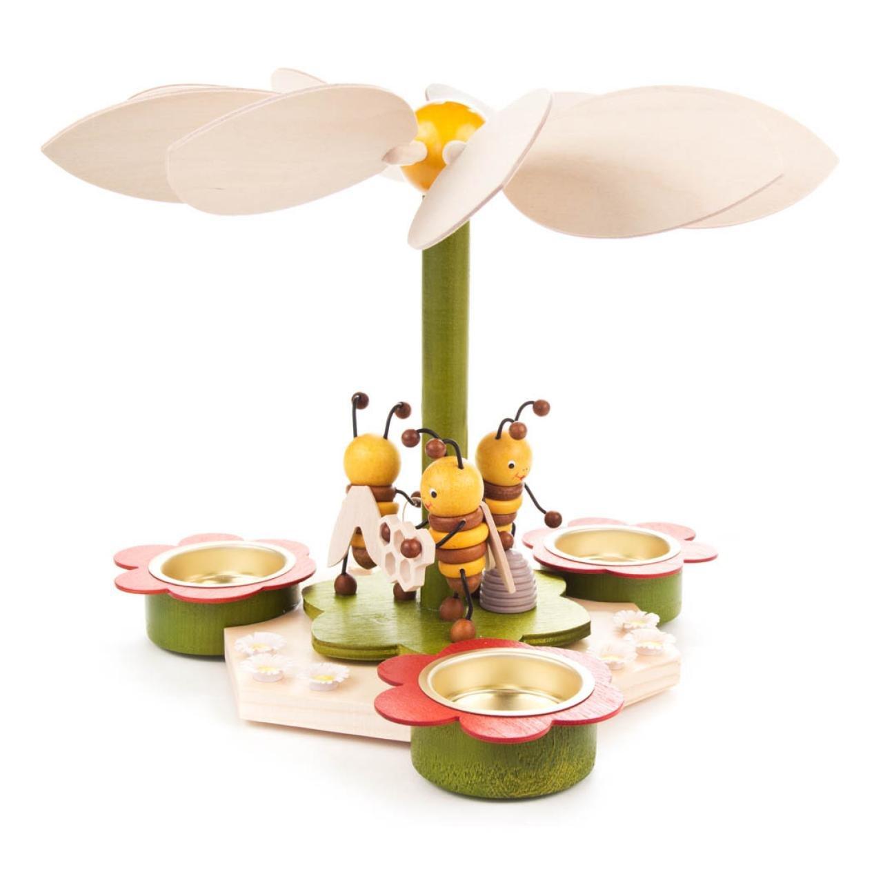 DREGENO Seiffen Pyramide mit Bienen für Teelichte, Holz, Natur, 23.5 x 23.5 x 18 cm