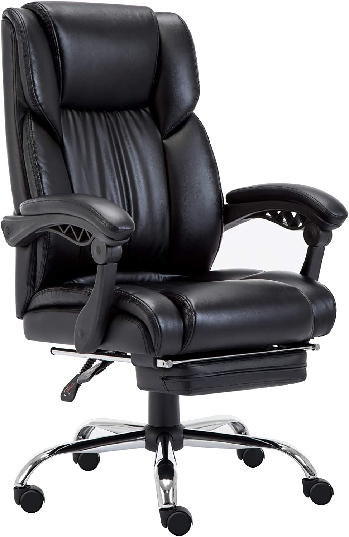 Silla de Oficina Ejecutiva con Reposapiés Alto Respaldo, Silla Gaming Ergonómica Altura Ajustable 360°Giratoria, Negro