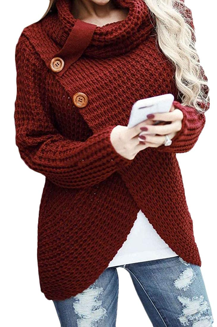 Spirio Womens Knit Chunky Cable Wrap Long Sleeve Button Turtleneck Sweater