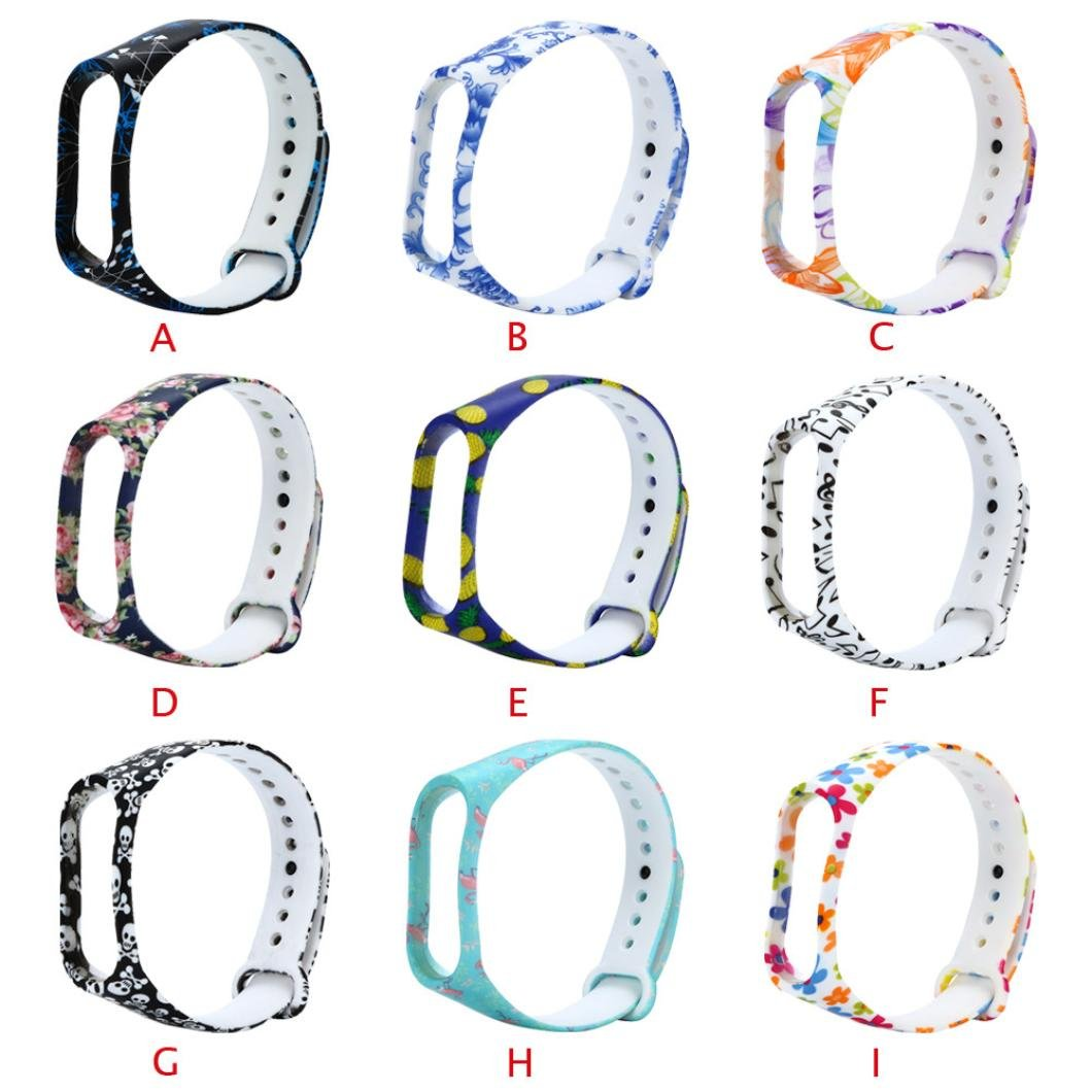 Fossrn para Xiaomi Mi Band 3, Silicona Correa de Reloj Reemplazo de Bandas Coloridas Imprimir Banda para Xiaomi Mi Band 3 Bracelet (G): Amazon.es: Deportes ...