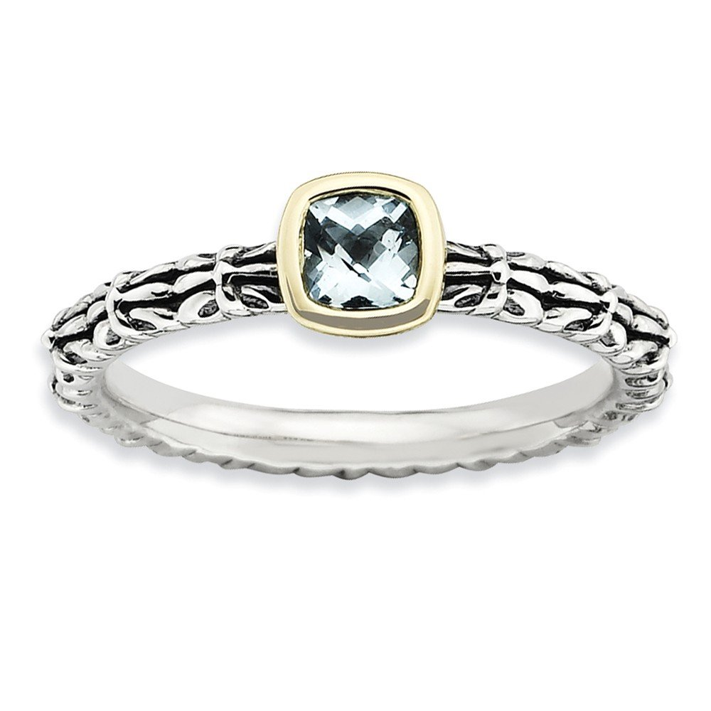 Top 10 Jewelry Gift Sterling Silver & 14k Stackable Expressions Checker-cut Aquamarine Ring