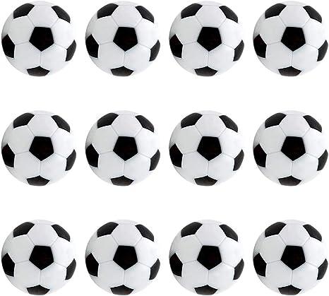 CDJX Balones de fútbol de Mesa, 12 Piezas de 32 mm, Bolas de fútbol para futbolín, Juego de futbolín, Accesorios de Repuesto, Color Blanco y Negro: Amazon.es: Deportes y aire libre