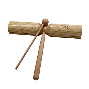 Ballylelly Niños Niños Madera Doble Campanas Batidoras Percusión Sonora Instrumento de Educación Temprana Niños Pequeñas Grandes Dos Tamaños Juguetes para ...