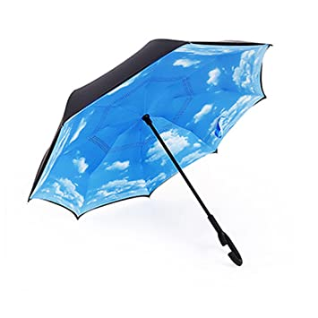 JJPRIME Paraguas Cortavientos, invertido, Plegable, de Doble Capa ...