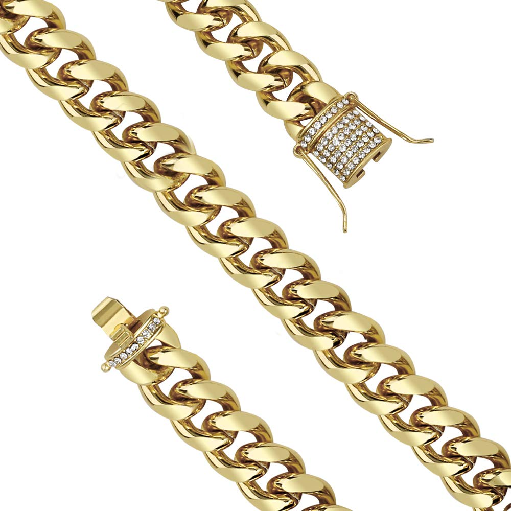 PartyDelight Cuban Link Chain Hip Pop Necklace Bracelet Plated Gold Stainless Steel Necklace with Iced Out Zircon
