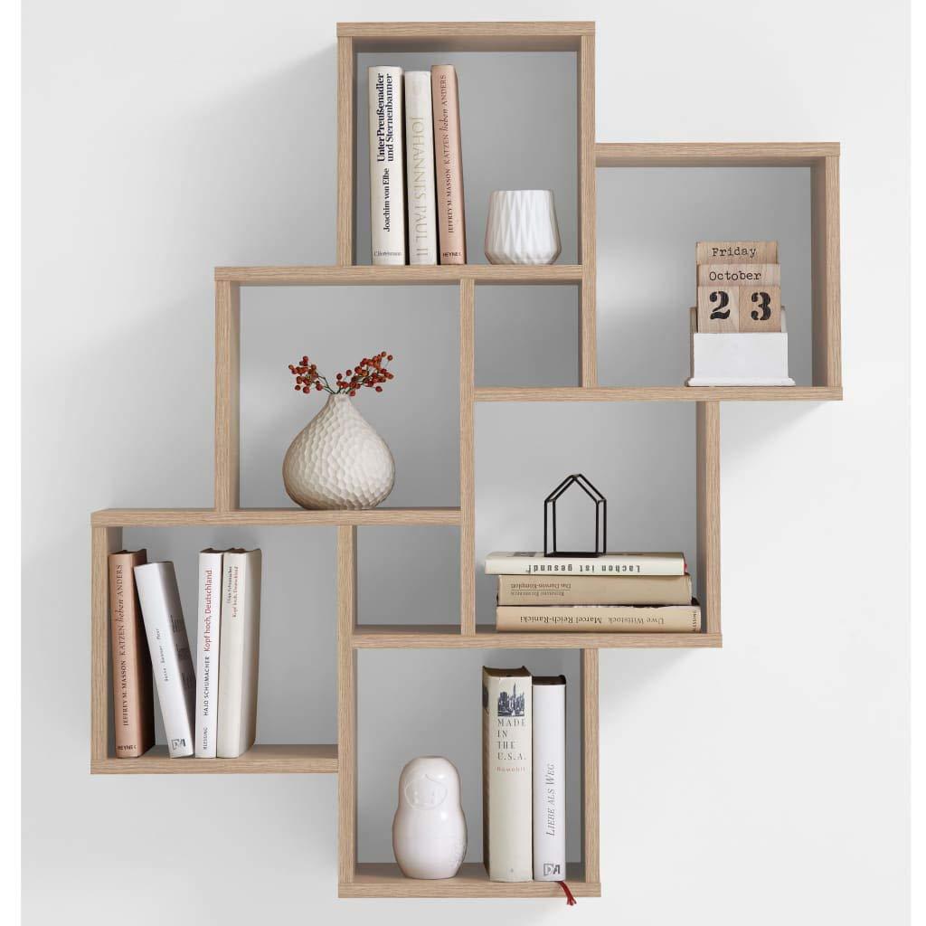 FMD Möbel Regal, 81,2x 15,7x 94,3H cm, Eiche, foliert, 8.7x 36.2x 75.3cm FMD Möbel Regal 2x 15 7x 94 3H cm