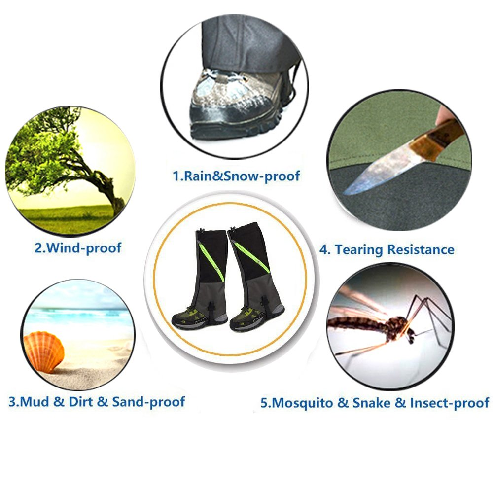 AYAMAYA Hiking Gaiters Waterproof Boot Snow Gaitors, Hiking Equipment Breathable High Boots Shoes Cover Leg Protection Guard, Anti Dust/Mud/Debris/Rock/Bush Snow Gaiters Hunting by AYAMAYA (Image #8)
