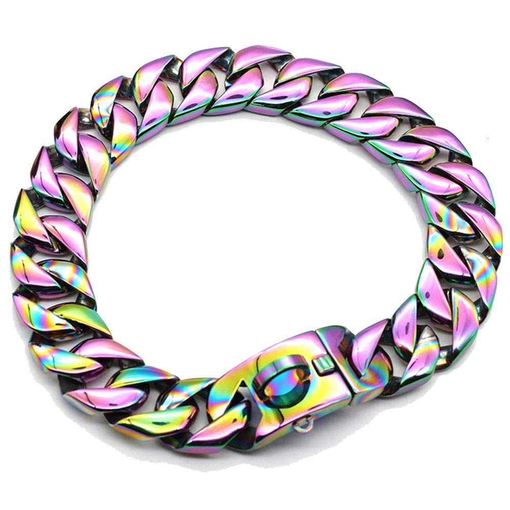 MUJING 30 mm Wide Hip Hop Electroplated Rainbow Colored Tone Cut Curb Cuban Link 316L Stainless Steel Dog Choke Chain Collar 40-70 cm,XXXXL