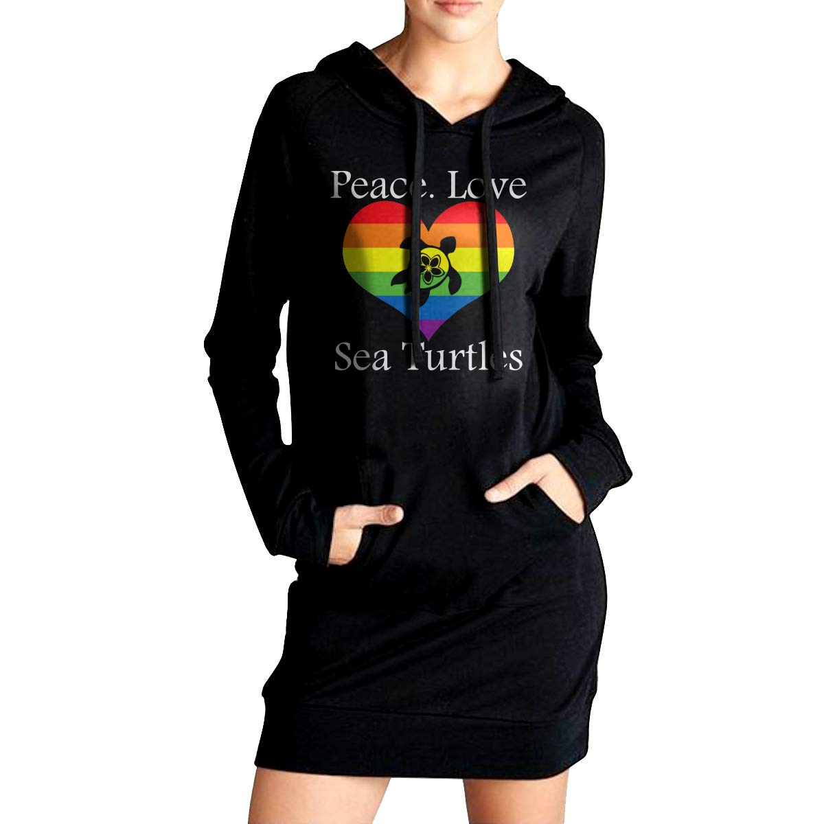 Love Sea Turtles Womens Long Sleeve Outerwear Womens Long Fleece Peace