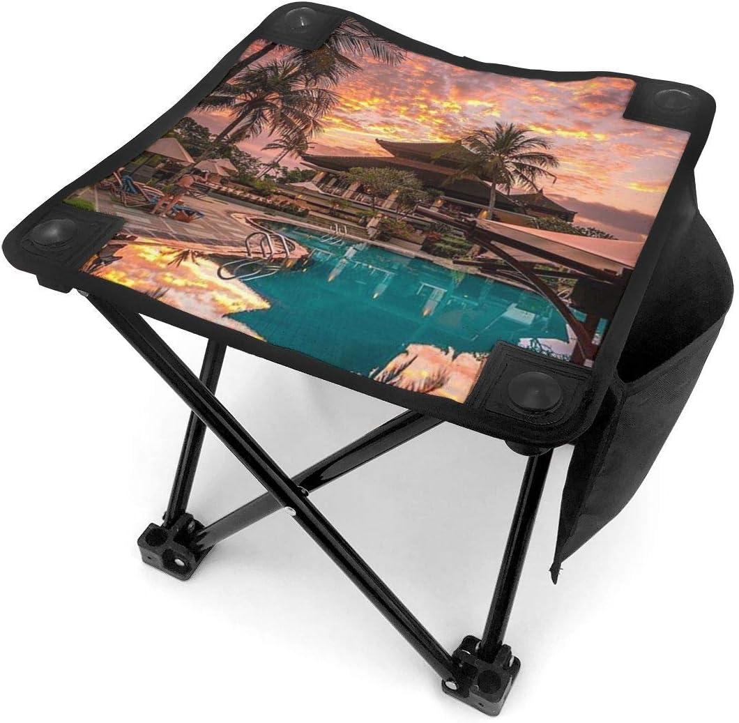 COMMER Sunset Vibes in Bali Indonesia - Taburete plegable portátil con bolsa de transporte, taburete de pesca para pesca, senderismo, jardinería y playa, 30,5 x 30,5 cm