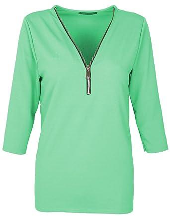 9aace50f8d0784 Emma   Giovanni - T-Shirt Kragen mit Reißverschluss 3 4 Ärmel für alle