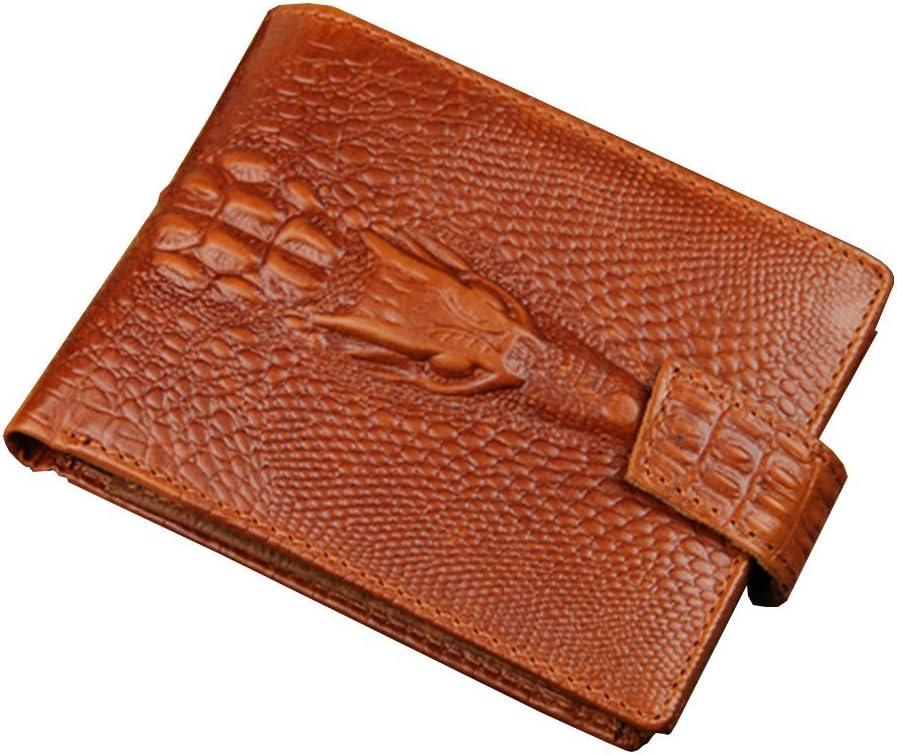 Strimm Estampado de Cocodrilo de Cuero Genuino Clásico Pinzas para Billetes con Cremallera de Bolsillo,Tarjetas de Crédito, Cartera Piel RFID Billetera