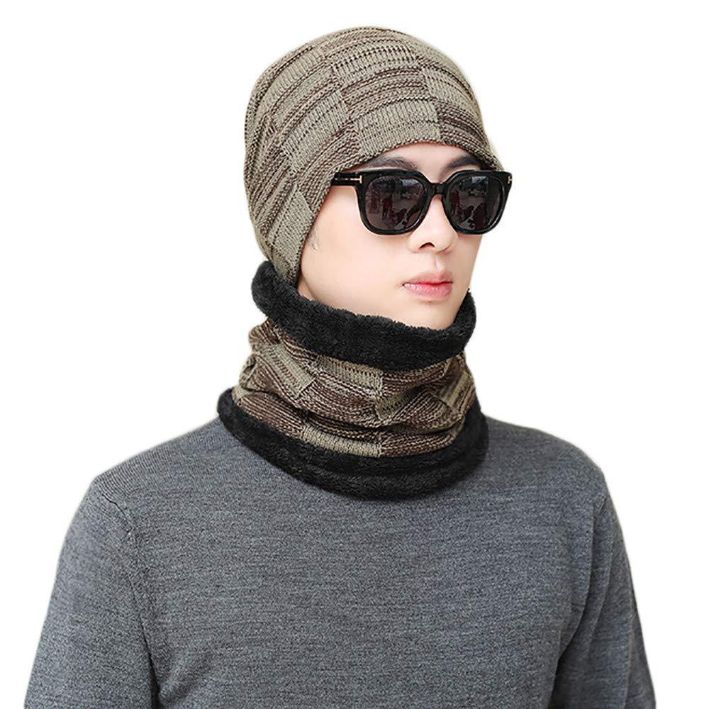 Beanie Strickmütze Unisex Warm Wintermütze Gestrickt Beanie Hut Hüte Caps + Strick Warm Loop Schal Halten Set, Schwarz Grau Khaki Weiß Weinrot Marine. Saihui ❇❇ Fashion Warme Mütze❇