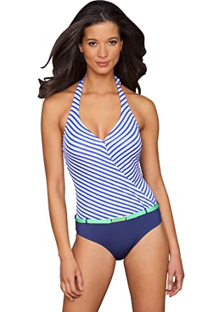 5eb5f96b5707f8 Jag Blue Bel-Air Stripe Halter Swimsuit at Amazon Women's Clothing ...