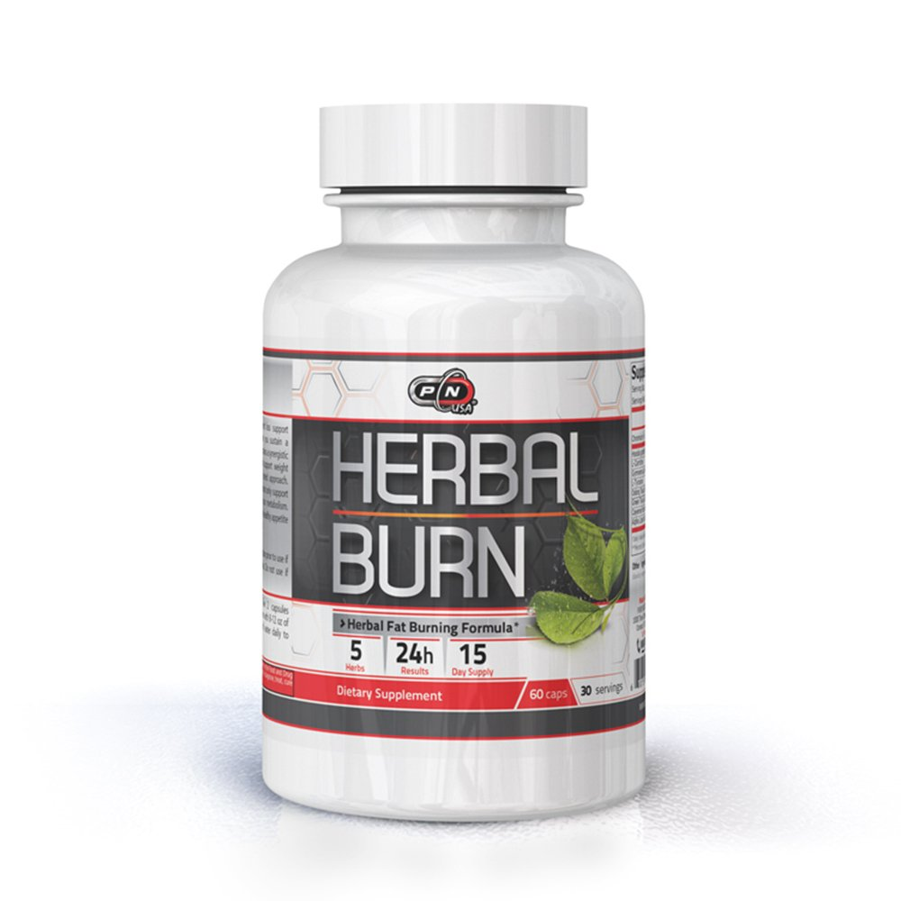 Pure Nutrition USA Herbal Burn 100% All Natural Fat Burner Best Weight Loss Management Stimulation Appetite Control Suppressant Sports Dietary Supplement Rapid Burning Formula 60 Caps