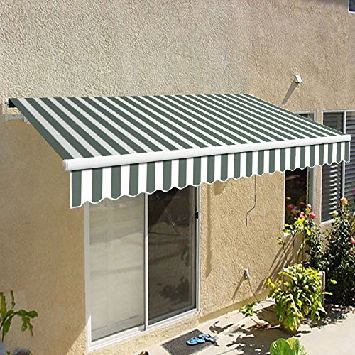 Awntech 10-Feet California Model Manual Retractable Awning, 10 by 8-Feet, Gray/White