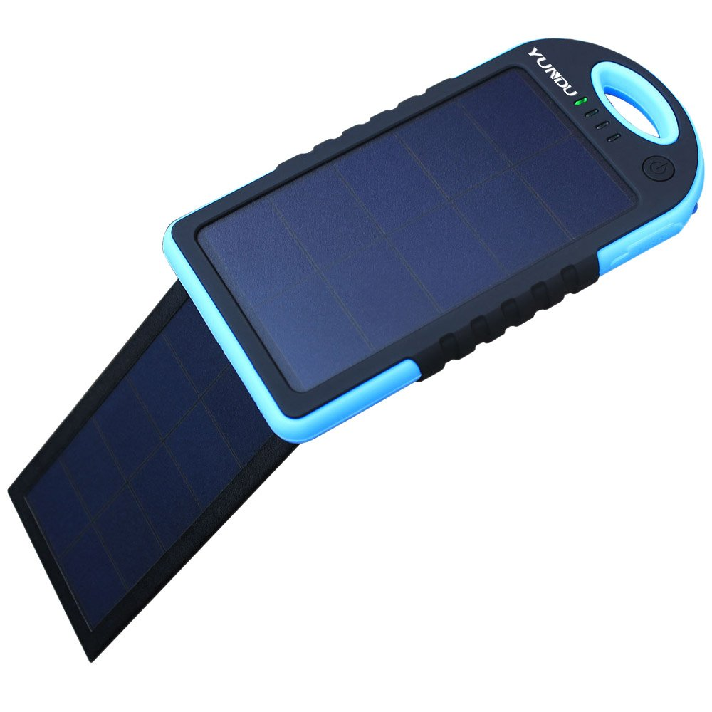YUNDU Solar Charger 5000mah High Efficient Double Foldable 2.2 W Fast Charging Panel Rechargeable Battery for Apple Samsung Blackberry Tablet ( Blue)
