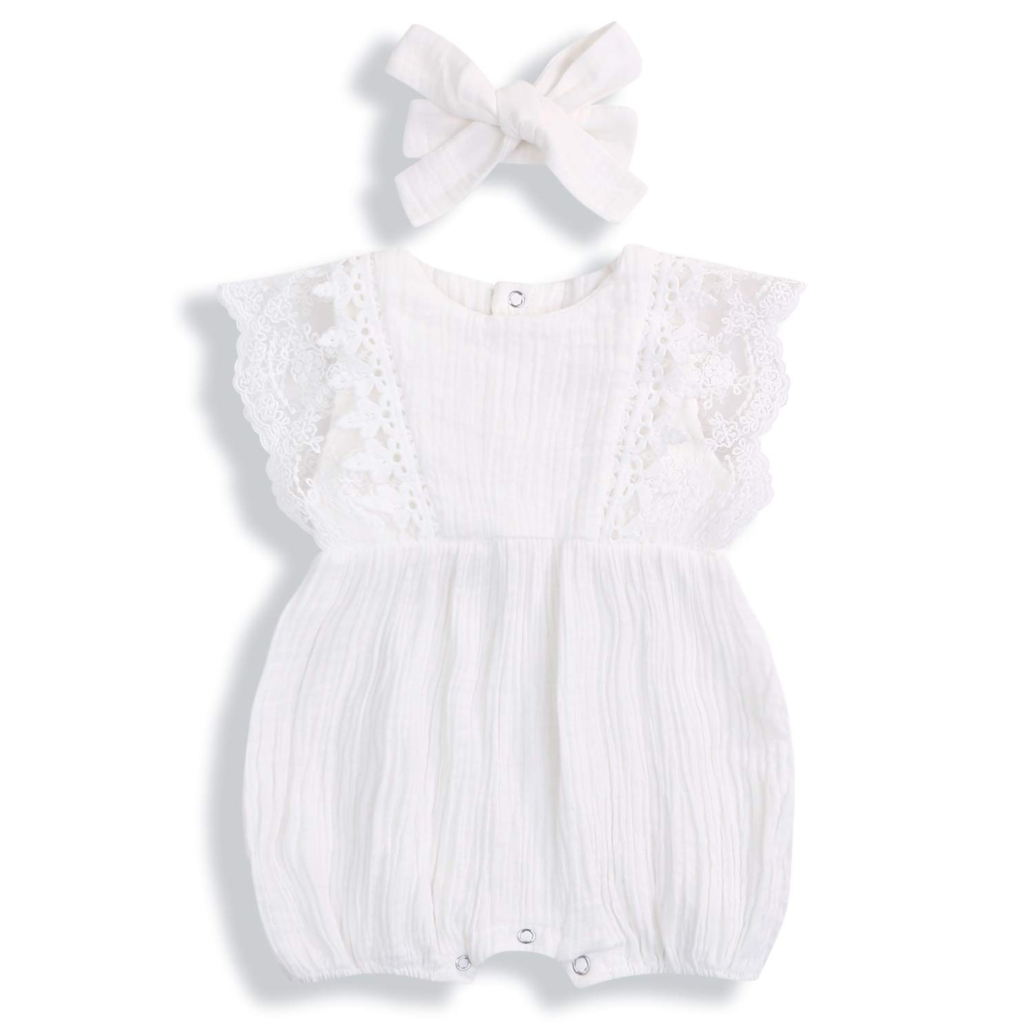 KCSLLCA Baby Girls Ruffle Romper Solid Color Bodysuit Clothes