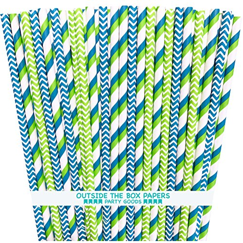 Blue Green and White Paper Straws - Multi Stripe Chevron - 100 Pack - Outside the Box Papers Brand (Green Lime Straws Paper)