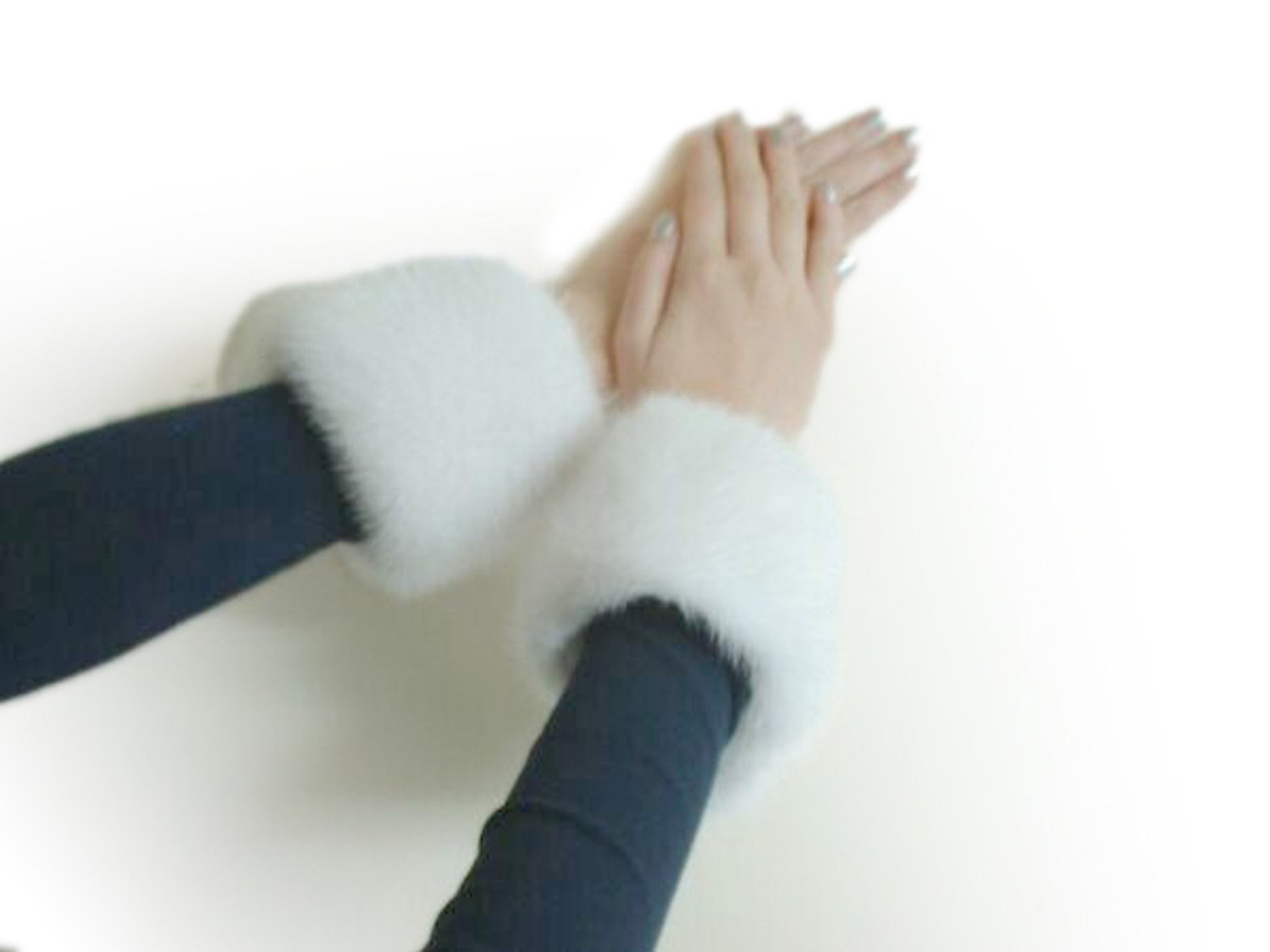 White or Slight Off-White Mink Cuffs w/Velcro Closure by FursNewYork