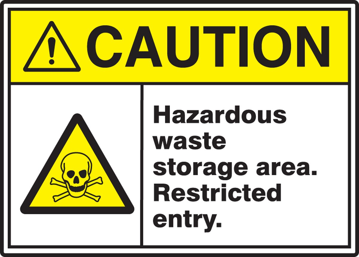 Restricted Entry Sign Black//Yellow on White 7 Length 7 Height Vinyl Accuform MRHL606VS Adhesive LegendCaution Hazardous Waste Storage Area 0.004 Thickness 10 Wide