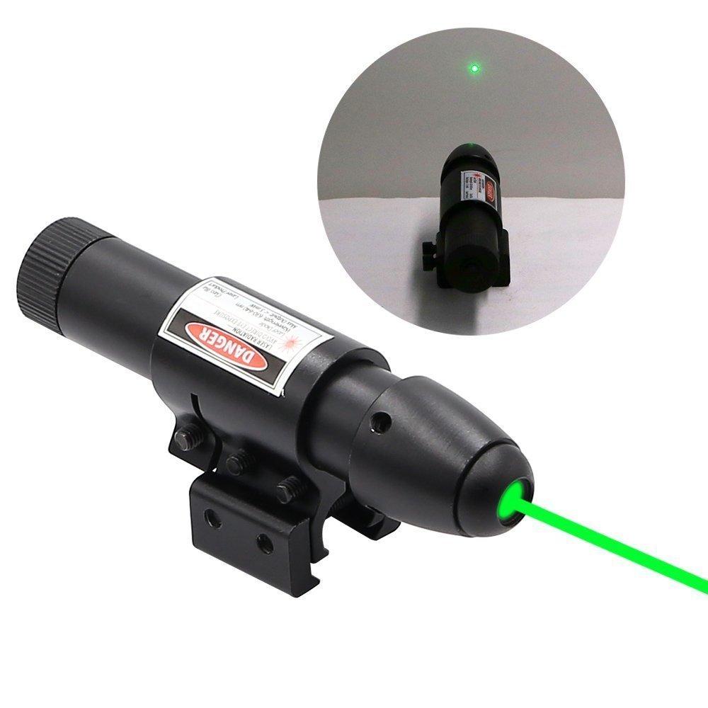 Visor de punto láser verde Higoo, rifle de caza, alcance de puntero láser verde con montaje de barril e interruptor de presión