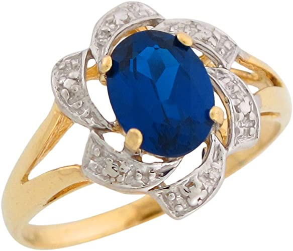 10k or 14k Two Tone Gold Simulated Sapphire White CZ September Birthstone Ring