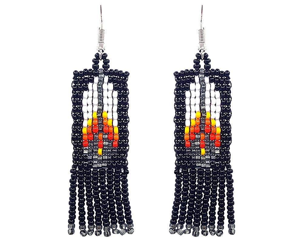 Mia Jewel Shop Handmade Native American Style Tribal Seed Bead Feather Pattern Fringe Dangle Earrings