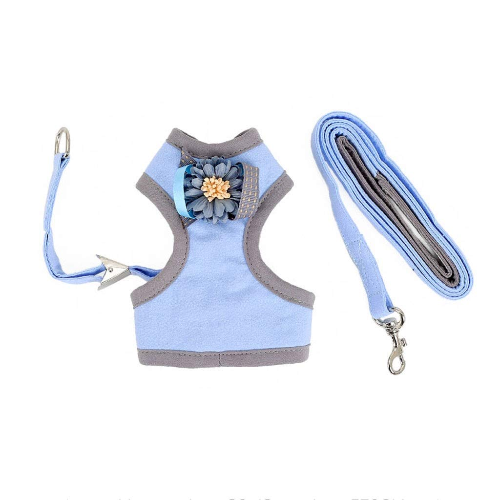 bluee M3643CMCat Vest Harness Home Small Dog Chest Strap Traction Rope Outdoor Dog Chain, Collar, Pet Supplies (six colors Optional) (color   bluee, Size   M36  43CM)