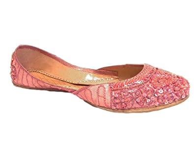 2ae54d2714bf1f Pretty Rose Pink Beaded Leather Silk Flats Ethnic Indian Khussa Slippers  Size 10
