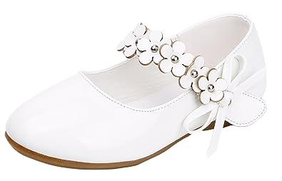 abca224cdcfe5a Agares Kinder Mädchen Festliche Schuhe Ballerinas Kinderschuhe Hochzeit Weiß  Blume (26 Innerlänge 15.8cm)