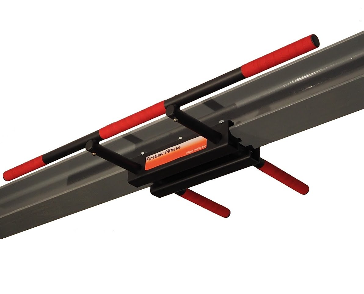 Firstlaw Fitness - 600 LBS Weight Limit - I-Beam Pull Up Bar - Long Bar Straight (RED) Grip Tape - Made in The USA!