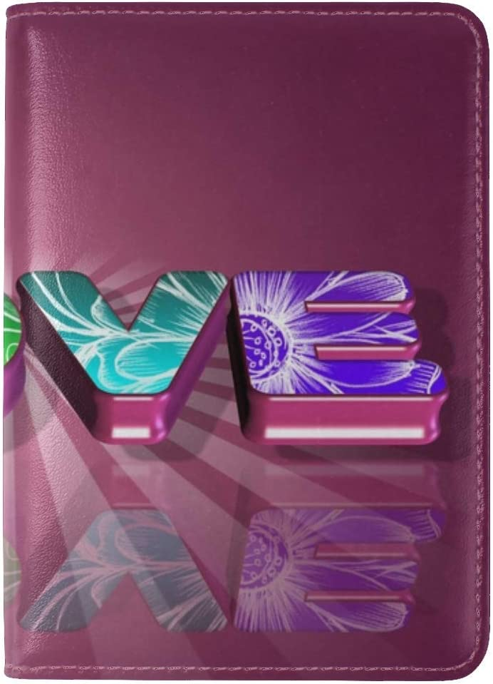 JiaoL Love Sign Bright Leather Passport Holder Cover Case Travel One Pocket