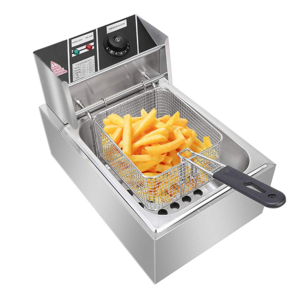 Stainless Steel Single Cylinder Electric Fryer 2500W MAX 110V 6.3QT/6L US Plug by Lovinland